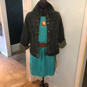 Turquoise One-Piece Textured Mini Dress Size M